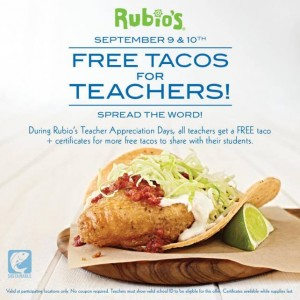 Free Rubio Tacos + Student Certificates for Teachers